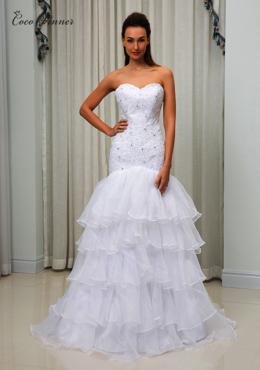 C.V 2018 V Neck Sleeveless Appliques Crystal Beading Mermaid Wedding ...
