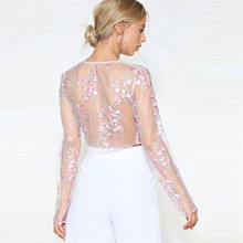 Summer Women Shirts Fashion Transparent Embroidery Lace Up Bandage Pink Floral Crop Tops Blouse Ladies Flower Clothes