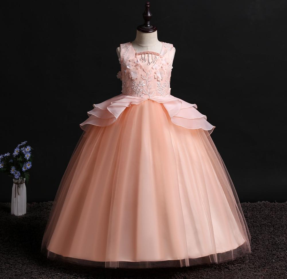 Children Flower Princess Dress Wedding Pink Lace Floral Embroidery Princess Prom Girls Long Party Dress Kids