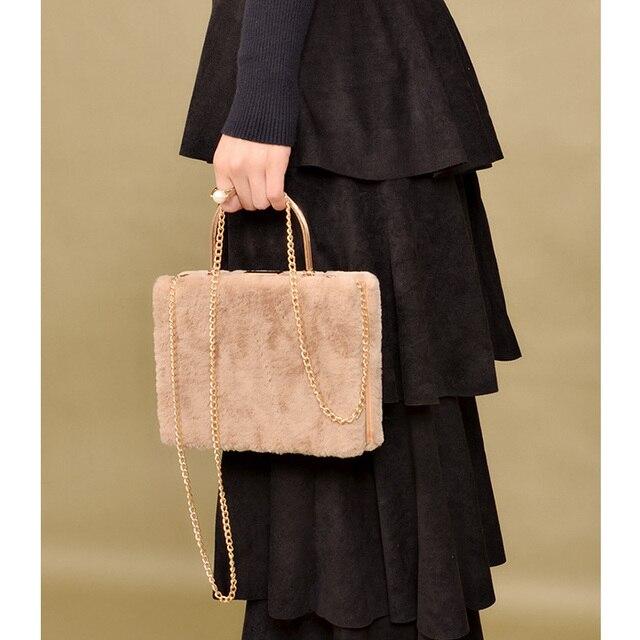 143243bcd666 Women s Fur Tote Square Box CrossBody Bag Shoulder Bags Clutches Top-handle Purse  Handbags Winter