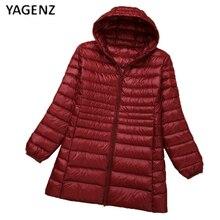 6XL90% белая утка pile2017super размер Сплошной цвет осень зима новый код длинный абзац куртка женщин Тонкий пиджак прилив YAGENZ XH46