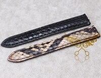 Venda de reloj de 18 mm 20 mm 21 mm nuevas para mujer de hombre marrón de cuero de pitón genuina reemplazo venda de reloj correas pulseras envío gratis