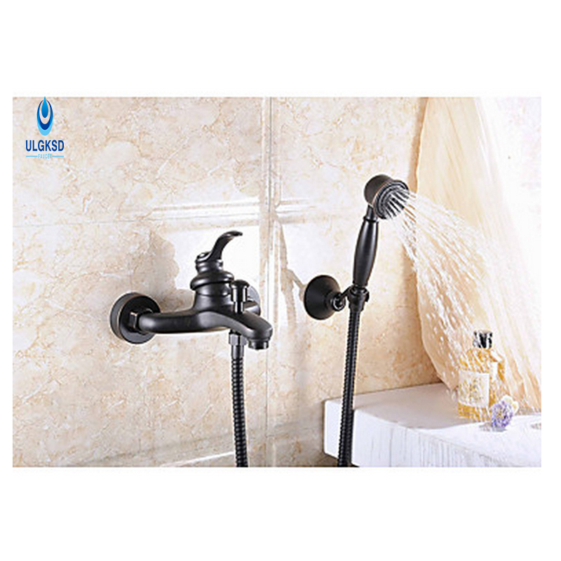ULGKSD Black Brass Bathroom Shower Set Faucet 8 Rainfall Shower Head Hot and Cold Water Mixer Taps W/ Tub Filter Hand Shower