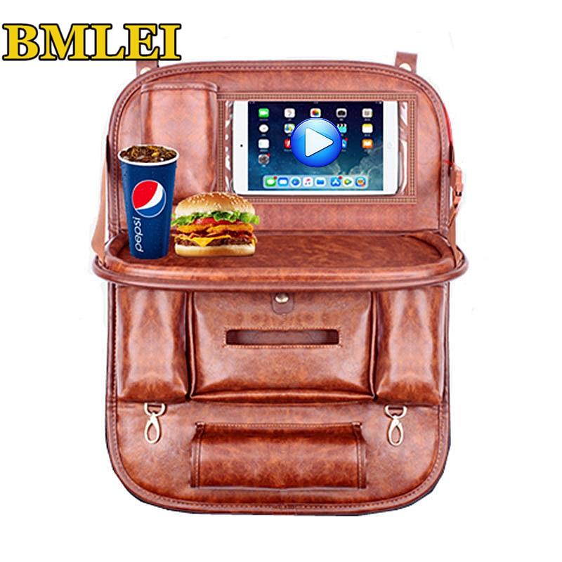 Genuine Leather Car Seat Back Organizer Storage Bag Travel Box Pocket Universal Stowing Tidying Protector Kids