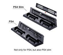 Для ps4 playstation 4 slim console slim 2 в 1 вертикальных стенд ж/Вентилятор Охлаждения Зарядное Устройство Зарядное Устройство ж/Двойной Зарядное Устройство Портов USB