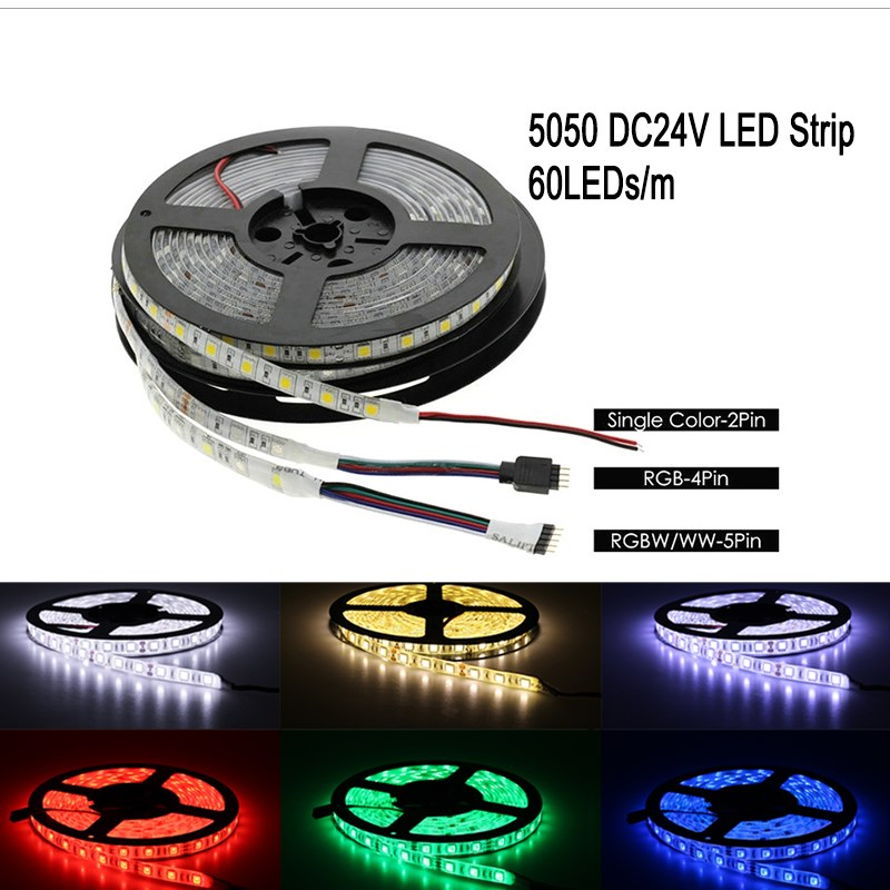 DC 24V Light LED Strip 5050 RGB RGBW RGBWW Led light 24 V 5 M 60LEDs/m Flexible Neon Tape Waterproof LED Lamp Strip TV Backlight 10pcs 5 pin led strip wire connector for 12mm 5050 rgbw rgby ip20 non waterproof led strip to wire connection terminals