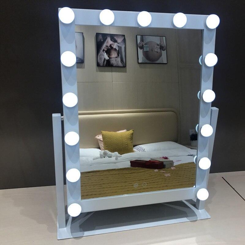 LED 15 светодио дный лампочек зеркало портативное принцесса зеркало красота зеркало туалетный свет 3 цвета Макияж Зеркало Регулируемый сенсо