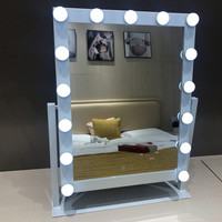 LED 15 Bulb Mirror Portable Princess Mirror Beauty Mirror Vanity Light 3 Color Makeup Mirror Adjustable Touch Screen