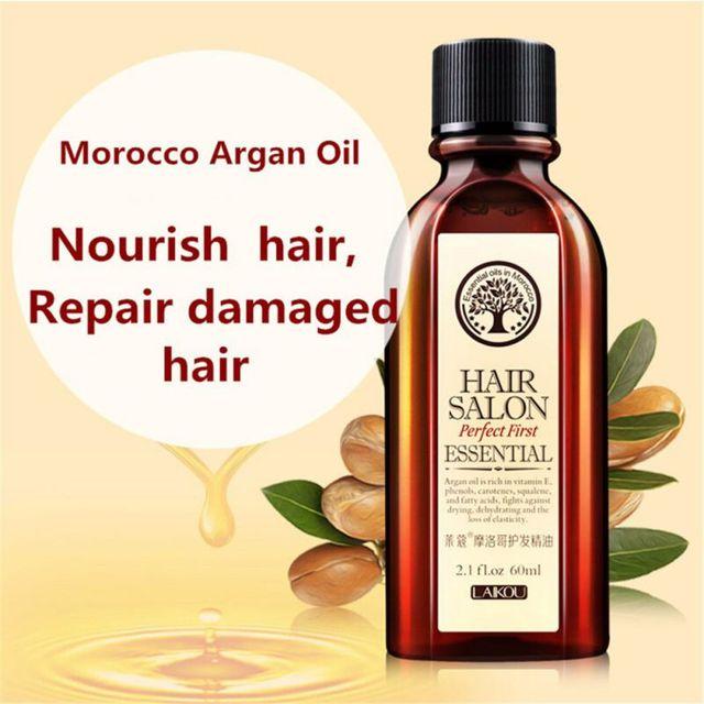 Multi-funcional cuidado del cabello aceite de argán puro marroquí aceite esencial para el cabello seco tipos de cabello 60 ml