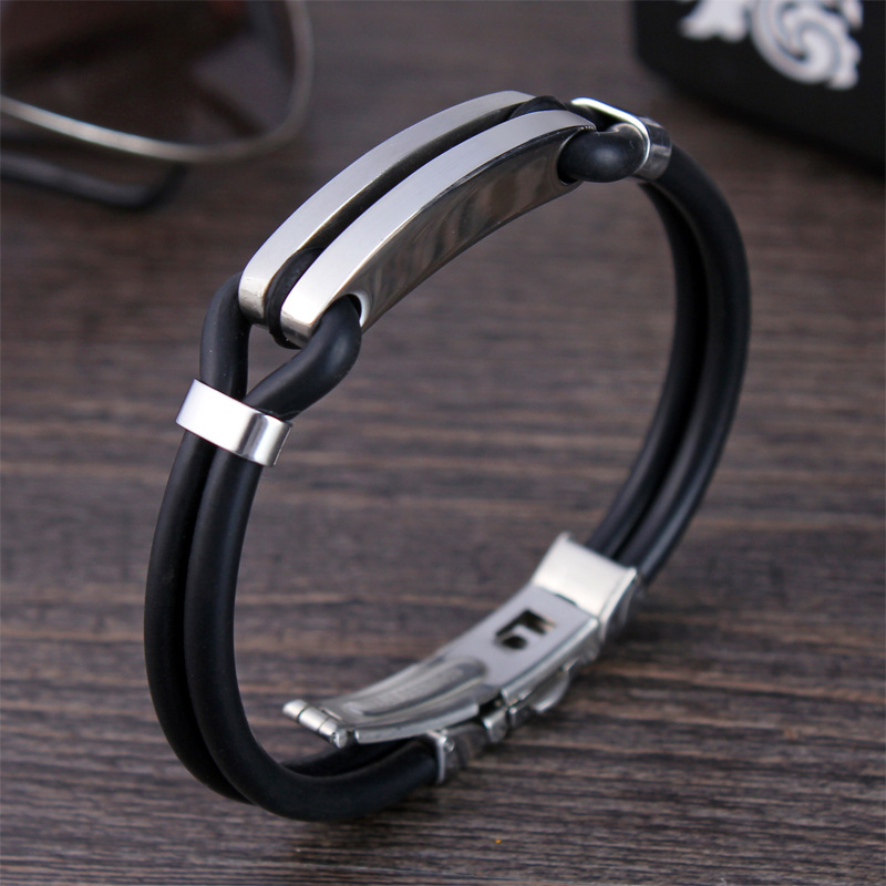 2019 New Bracelet Men Fashion Cuff Leather Bracelet Stainless Steel Charm Bracelet For Men Jewelry Gift