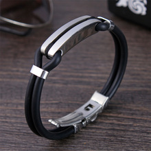 New Hot Sale Sports Cuff Jewelry Bracelets Michael Wrap Silicone Stainless Steel Bracelet Bangle Male Men Jewelry 190mm 316L(China)