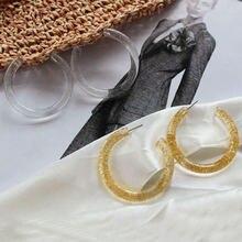 Женские круглые серьги обруч gothletic из смолы золотого/прозрачного