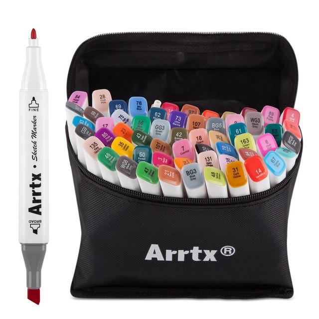 Arrtx 40/60 Colors Marker Pens Set Alcohol Marker Pens with Fine and Broad Twin Tip for Illustration Anime Cartoon Design Model
