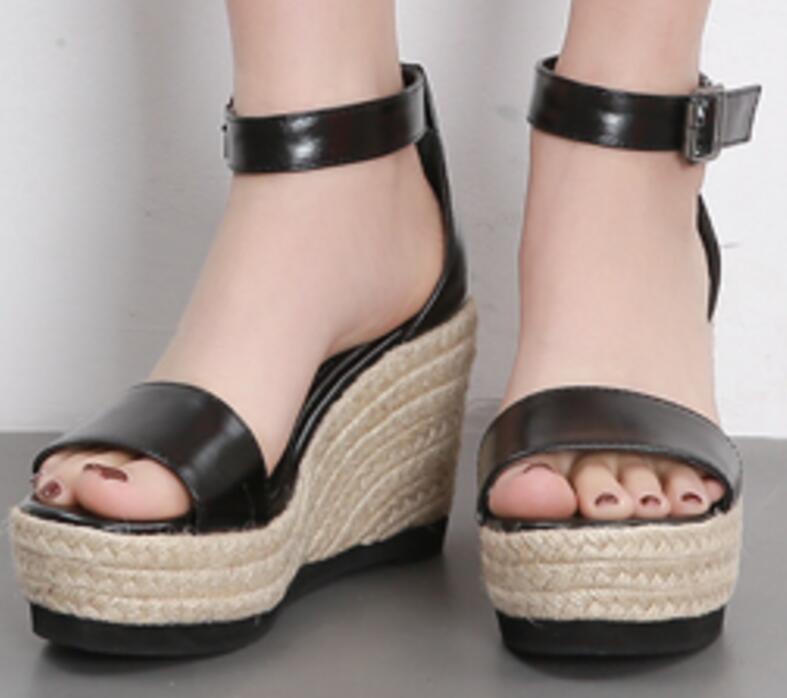 forme Mujer Feminino Femme Compensées Femmes Casual Pompes Boucle Black Talons Dames Chanvre Sapato F180341 Chaussures Plate Sandales D'été brown Zapatos Haute uFKJ5Tl1c3