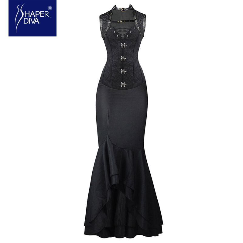 Shaper diva Women Steampunk Corset Long Dress Sets Waist Control Corsets Dress Mermaid Dress Fashion Steampunk