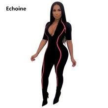 цены на Hot Sexy Slim Bodycon Jumpsuit Romper Side Striped V-neck Jumpsiut Skinny Club Outfit Women Clubwear Playsuit Bodysuit Party  в интернет-магазинах