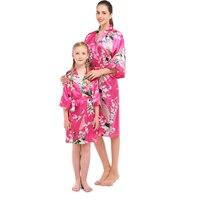 Satin Cưới Cô Dâu Phù Dâu Áo Ngắn Kimono Áo Choàng Áo Choàng Đêm Robe Bath Robe Thời Trang Mặc Quần Áo Gown Đối Với Phụ Nữ + con 2 cái/b