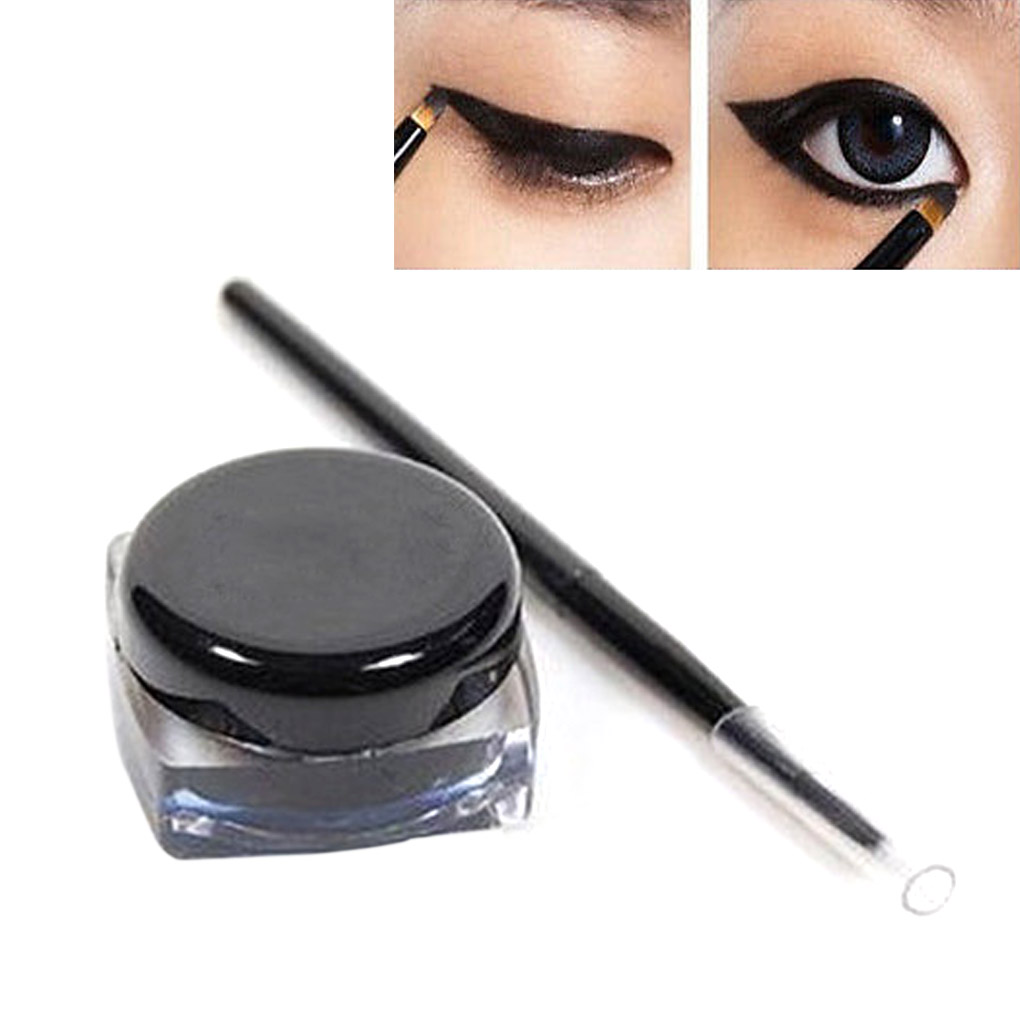 Waterproof Long Lasting Eyeliner Curd Eye Liner Pen And Brush Set Black Makeup