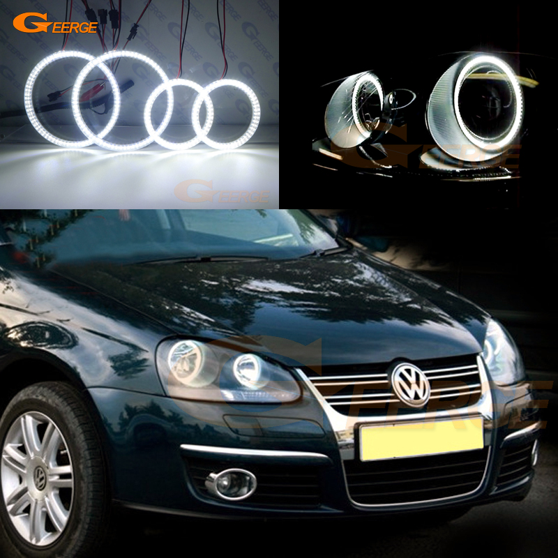 For Volkswagen VW Golf Rabbit Jetta GTI R32 MKV MK5 2005 2006 2007 2008 2009 2010 Ultra bright smd led angel eyes kit DRL new oem vw jetta golf mk5 gti rabbit front fog lights lamps 1t0941699 1t0941700 2005 2009