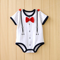 2016 summer baby boy clothes New gentleman tie style Short-sleeved Romper kids clothes cotton 100% for 3-12M