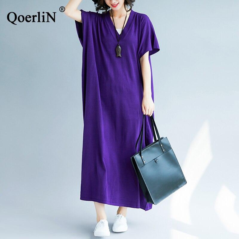 QoerliN solide robe femmes 2019 été plage longue Maxi robe dames à manches courtes lâche décontracté femme col en v chemises robe pull