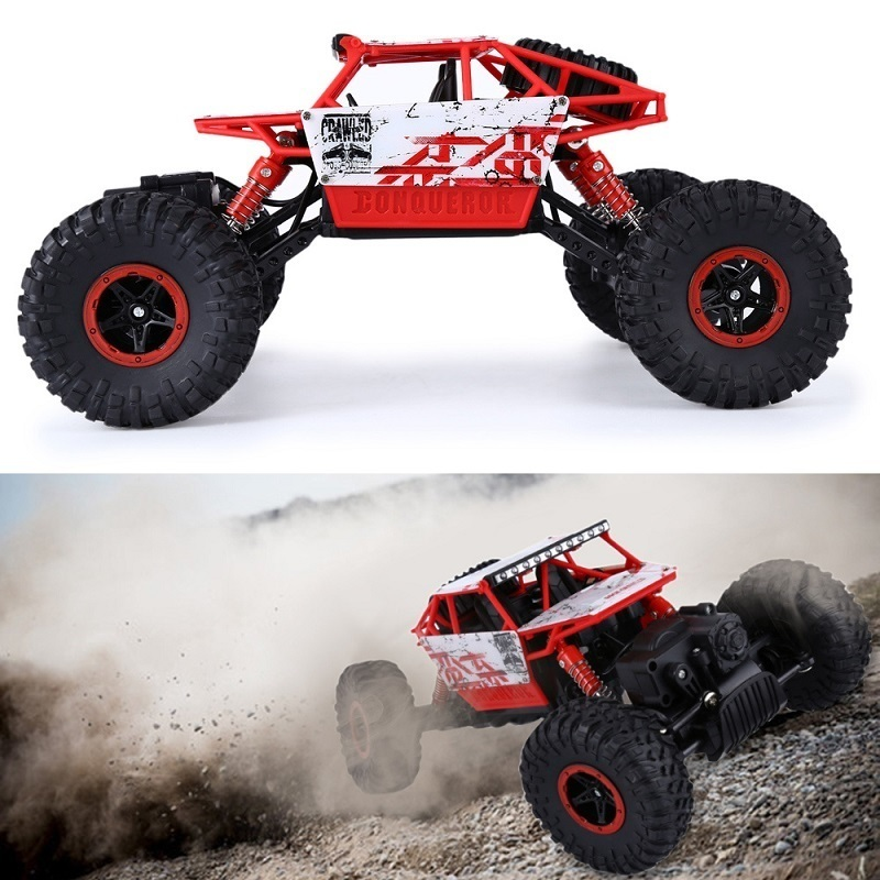 RC Cars HB P1803 2.4Ghz 1/18 Scale Rock Radio Control Crawler Solid Frame 4 Wheel Drive Off-road Race Trunk Cars toy 82r 801 replacement plastic rubber wheel for 1 8 scale off road cars black red 4 pcs