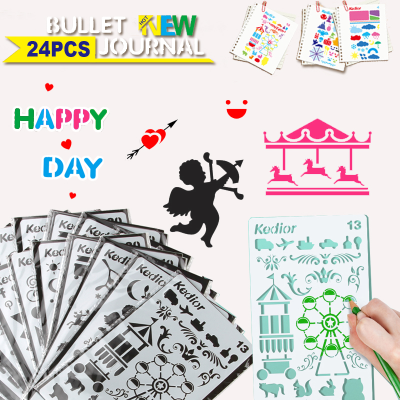 24pcs Bullet Journal Stencil Supplies Hollow Layering Stencils for DIY Scrapbooking Plastic Notebook Drawing Template ...
