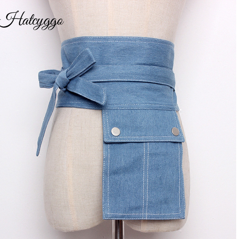 HATCYGGO Denim Wide Corset Jeans Women Belts With Pocket Leisure Cummerbund For Party Dresses Female Belts Clothing Accessories