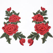 2Pcs/set Large Rose Flower Flowers Collar Sew on Patches Cute Appliques Badge Embroidered Fabric Sticker DIY Clothes Bust Dress