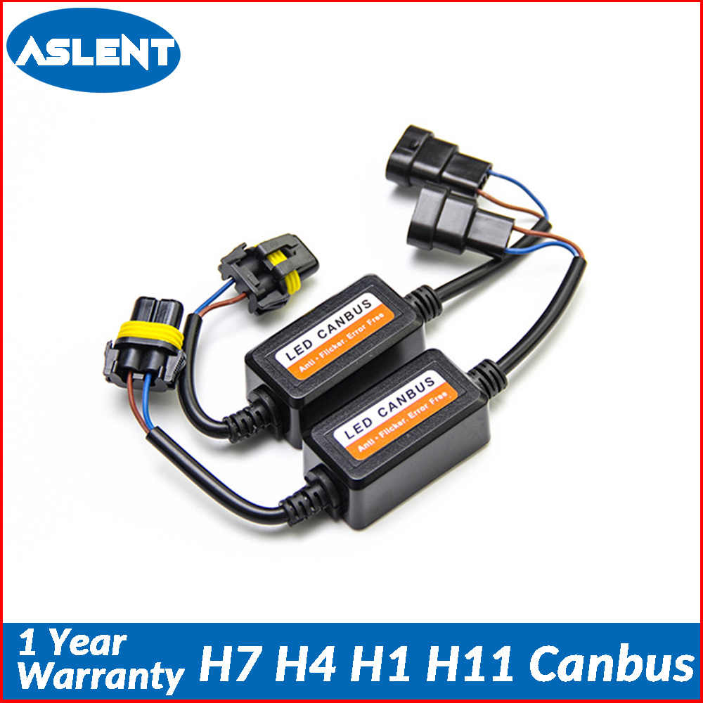 Aslent 2pcs H4 H7 H1 H11 9005 9006 Car light Canbus Decoder No Error free Wiring Harness Adapter LED Headlight Auto Bulb ligts