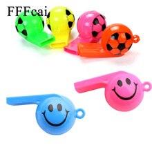 FFFcai 5 шт./лот футбол Футбол улыбающееся лицо свисток Чирлидинг игрушки для детей Пластик игрушечный свисток с веревками