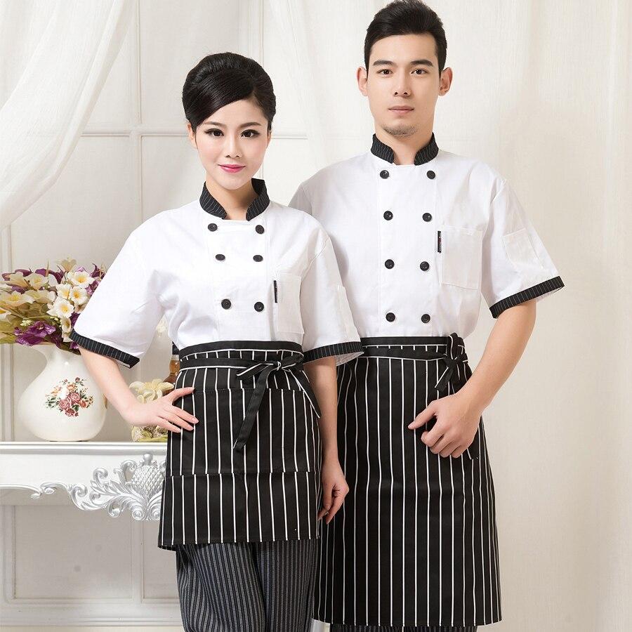 Chef Wear Short Sleeved Hotel Uniform Summer Restaurant Kitchen Logistics Clothing Mens Workwear Hotel-uniforms Waitress J011