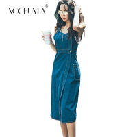 Voobuyla Women Sexy Denim Dresses 2018 Female bandage Spaghetti Strap Jeans Dresses Womens Sleeveless Summer Party Long Dress
