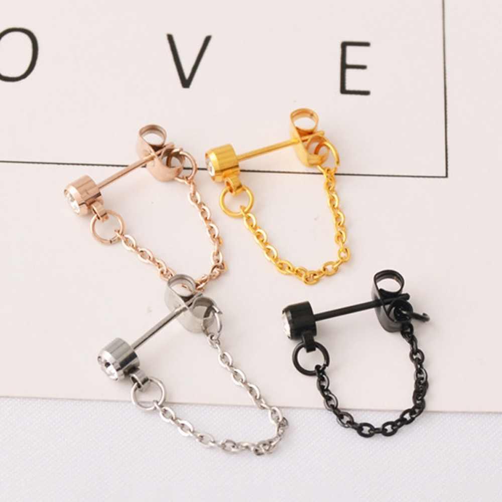 1PC Fashion Simple Metal Crystal Zircon Chain Stud Earrings for Women Titanium Steel Silver Pink Gold Ear Cuff Studs #275201