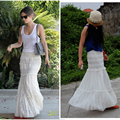 Free Shipping Spring And Summer White Lace Fish Tail Skirt For Women Elastic Waist Elegant Long Maxi Mermaid Style Skirts S-L