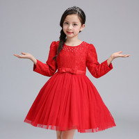 Girls Dresses Long Sleeve Autumn Winter Kids Flower Pattern Pearl Clothes Robe Enfant Princess Costumes Children
