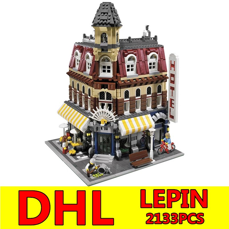 LEPIN 15002 2133Pcs Clone City Street Make Create Cafe Corner Model Building Blocks Bricks kits Children Toy Gift Educational lepin 15002 cafe corner model 2133pcs building kits blocks kid diy educational toy children day gift compatible 10182