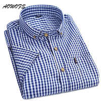 AOWOFS Mens Plaid Shirts Small Checks Gingham Shirts Men Short Sleeve Button Down Cotton Shirts Summer Men Clothes