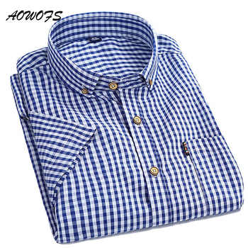 AOWOFS Mens Plaid Shirts Small Checks Gingham Shirts Men Short Sleeve Button Down Cotton Shirts Summer Men Clothes - DISCOUNT ITEM  49% OFF Men\'s Clothing
