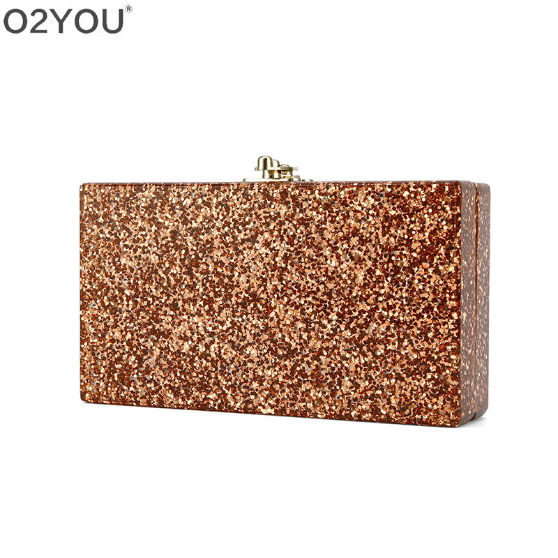 Rose Gold Glitter Metal Clasp Mirror Inside Acrylic Clutch Bag Women Day Clutches Evening Lady Summer
