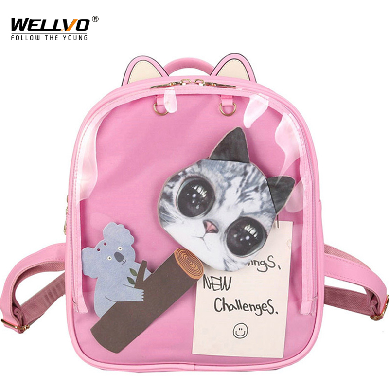 Cat Ears Transparent Backpack Women Cute Clear Backpacks Leather School Bags For Teenage Girls Rucksack Kids White Bag XA1980C
