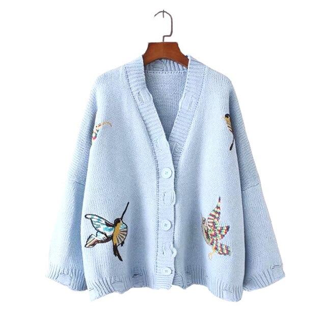 2017 Otoño Moda Mujeres Dulce Pájaro Bordado Agujero Tejer Giro Suéter Flojo  Ocasional Único Breasted de 95e1fe11b8b2