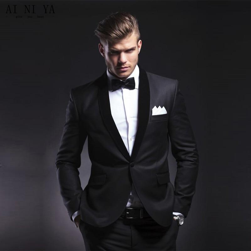 Costumes de concepteur pour hommes costumes de marié noir hommes de garde-robe meilleurs hommes costume costumes de mariage veste pantalon nouveau