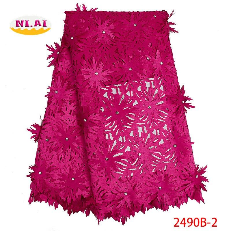 Nigerii biżuterii dla nowożeńców tkaniny koronki, 3D kwiaty tkaniny do sukni, gorący różowy koronki tkaniny MR2490B w Koronka od Dom i ogród na  Grupa 1
