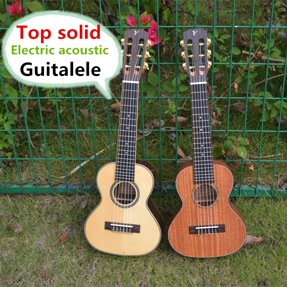 Top Solid Acoustic Electric Guitalele 28 Inch Mini Guitar 6 StringUkulele Ukelele Guitarra Mahogany Acacia Picea Asperata Acacia handmade new solid maple wood brown acoustic violin violino 4 4 electric violin case bow included