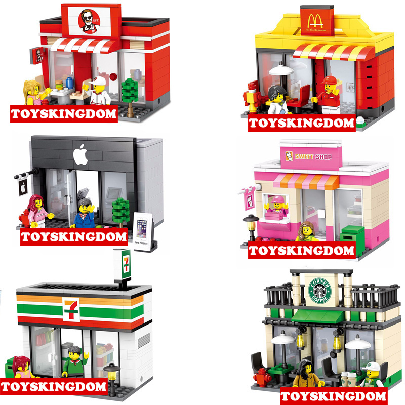 City mini street view building block Apple 7-11 Convenience store Starbucks coffee sweet shop MacDonald Restaurant bricks toys frommer s® portable acapulco ixtapa