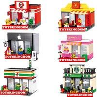 Mini ciudad de street view building block de Apple 7-11 tienda tienda de dulces de café Starbucks MacDonald Restaurante juguetes de los ladrillos