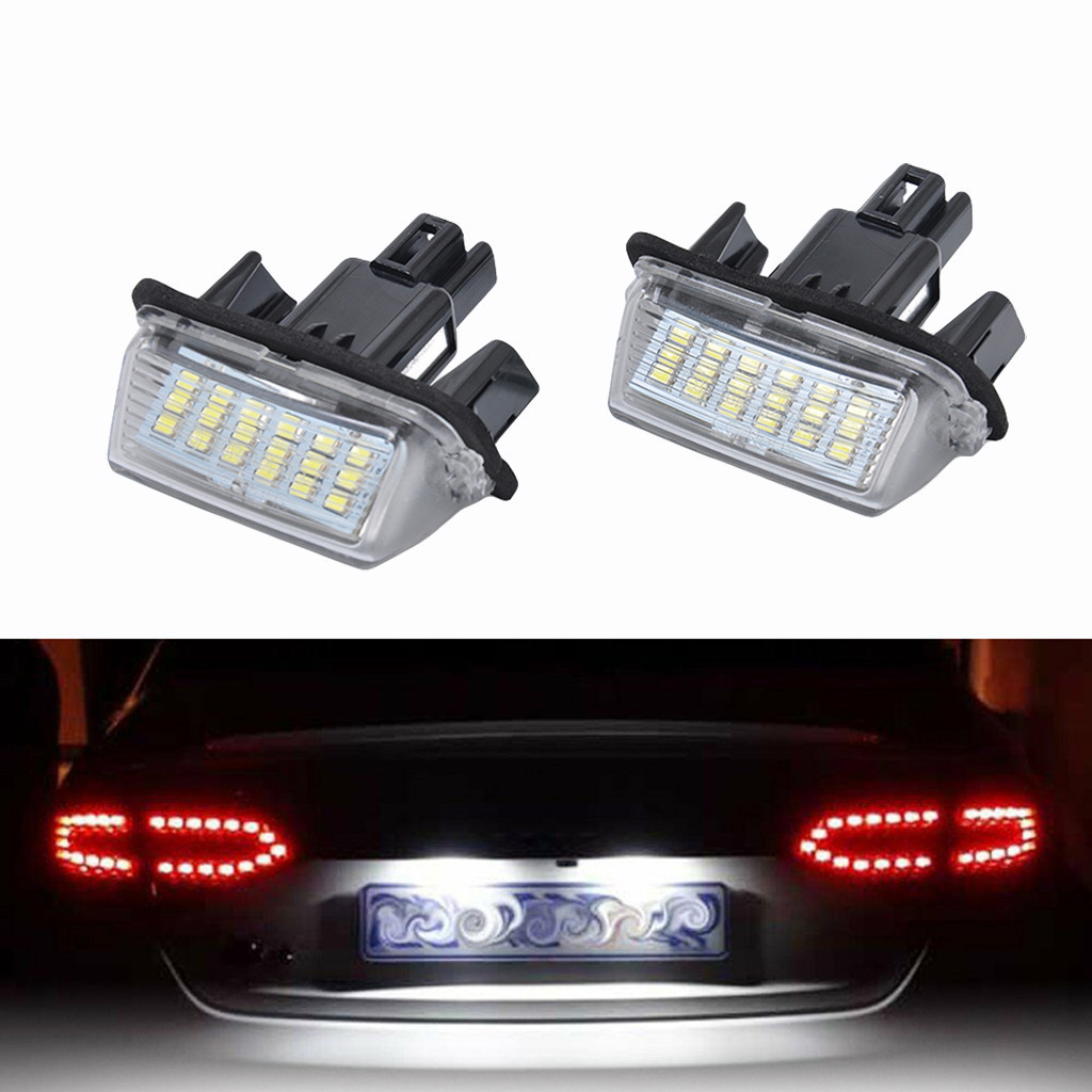 Image 1 - LED Light Bulbs For Cars Direct Replacement Of White 2X 18LED License Plate Lights For Toyota Yaris Car Accessories-in Signal Lamp from Automobiles & Motorcycles