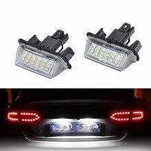 Żarówki LED do samochodów bezpośrednia wymiana białego 2X 18LED oświetlenie tablicy rejestracyjnej do akcesoriów Toyota samochód Yaris