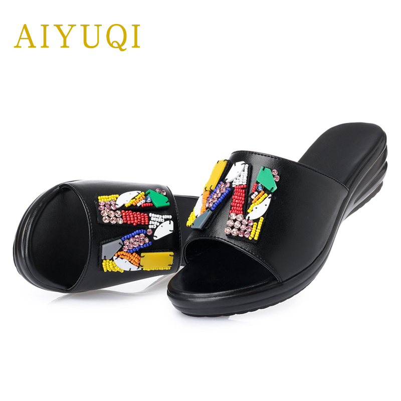AIYUQI 2019 new summer genuine leather women 39 s slippers comfortable breathable flat slippers big size41 42 43 beach flip flops in Slippers from Shoes